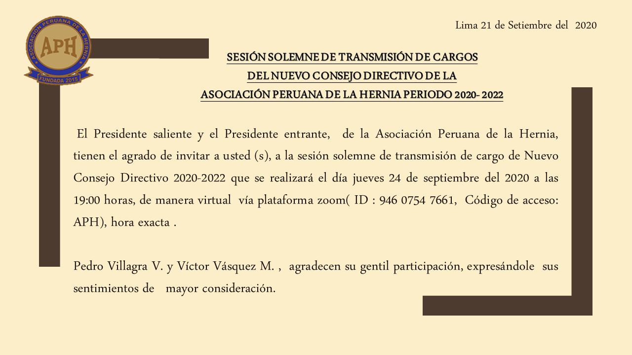 Sesión Solemne de transmisión de cargos del nuevo Consejo Directivo de la Asociación Peruana de la Hernia periodo 2020-2022