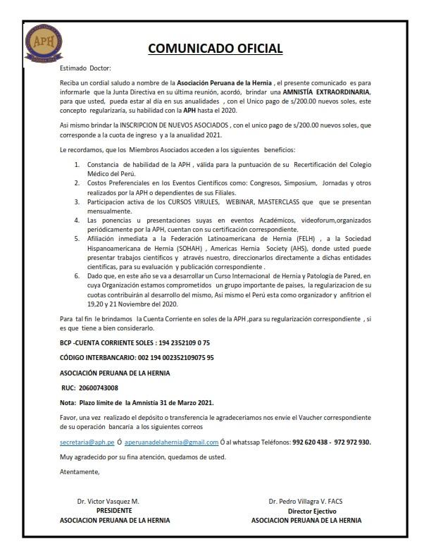 Comunicado Oficial Amnistía Extraordinaria