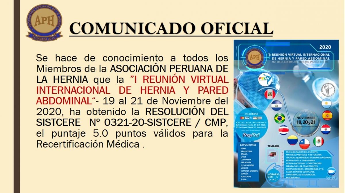 Comunicado Oficial sobre 1ra Reunión internacional virtual de hernia FELH/SOHAH