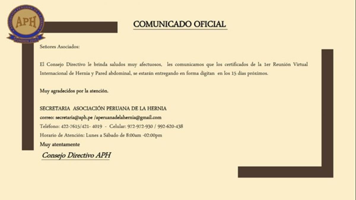 Comunicado Oficial- Certificado